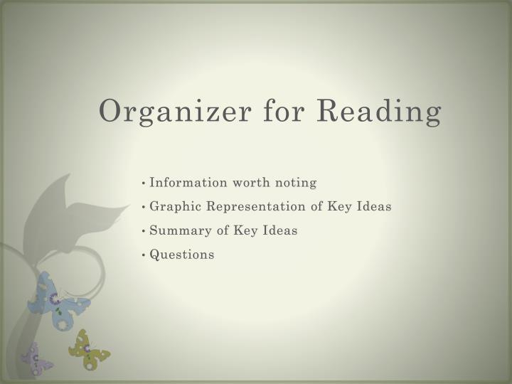 Organizer for Reading