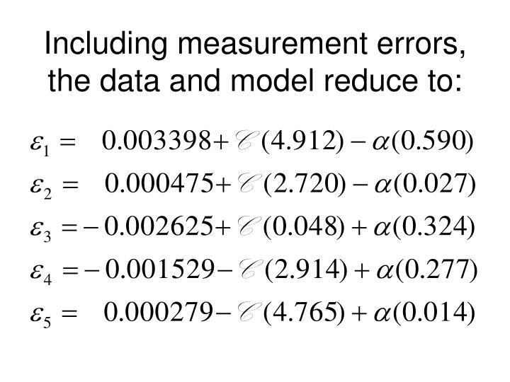 Including measurement errors, the data and model reduce to: