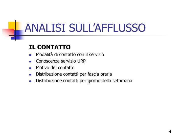 ANALISI SULL'AFFLUSSO