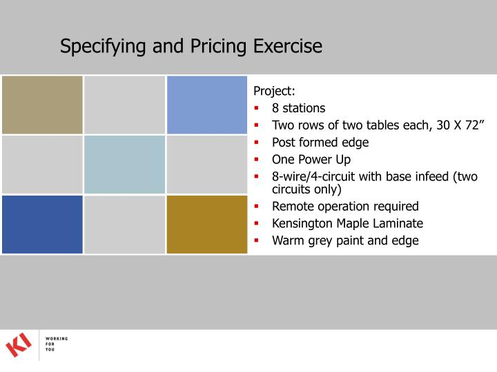 Specifying and Pricing Exercise