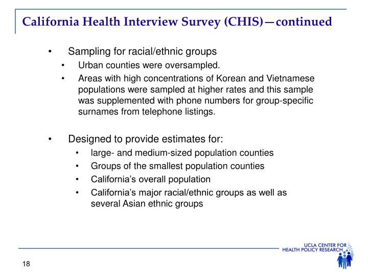 California Health Interview Survey (CHIS)—continued