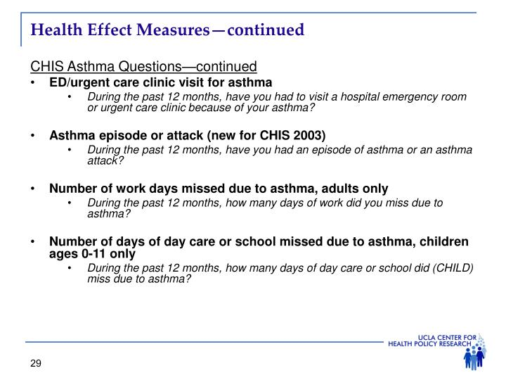 Health Effect Measures—continued