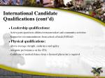 international candidate qualifications cont d