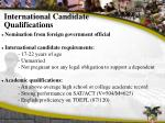 international candidate qualifications