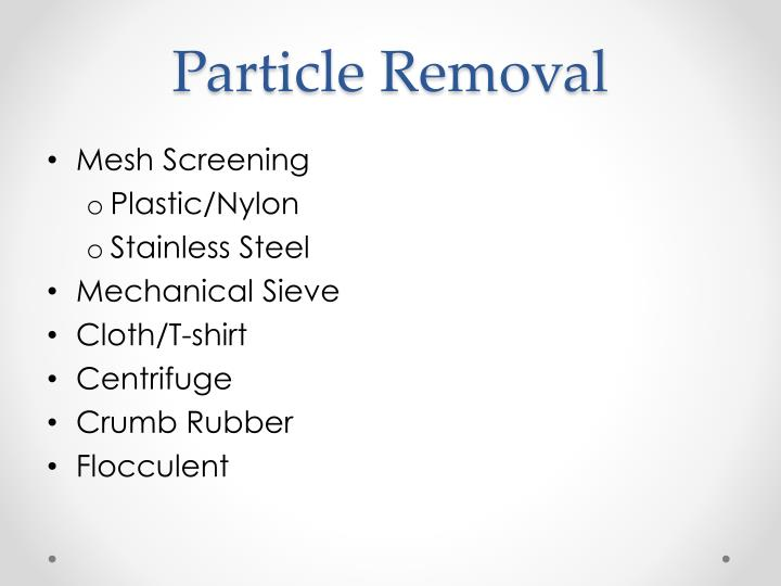 Particle Removal