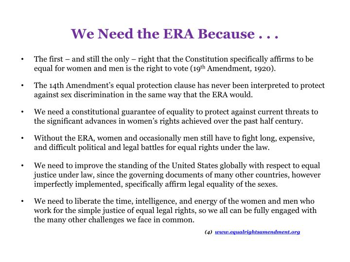 an analysis of the equal rights for women Critical analysis: shirley chisholm speech equal rights for women in her famous linguistic process equal rights for women, addressed to the united states tolerate of representatives in washington dc, may 21, 1969, chisholm addresses the assumption ab give away women in stir upnership being treated unfair.