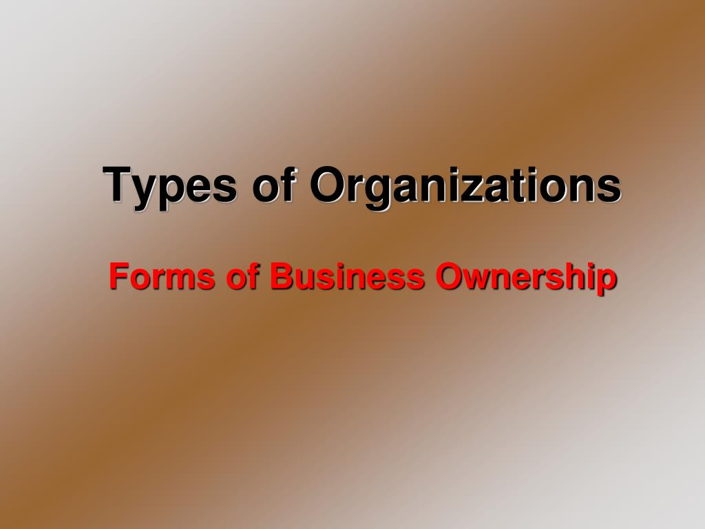 types of business organization according to ownership