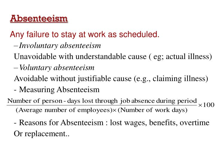 human resource policy presentation absenteeism