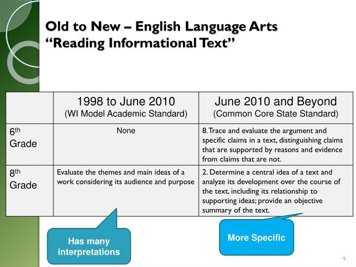 Old to New – English Language Arts