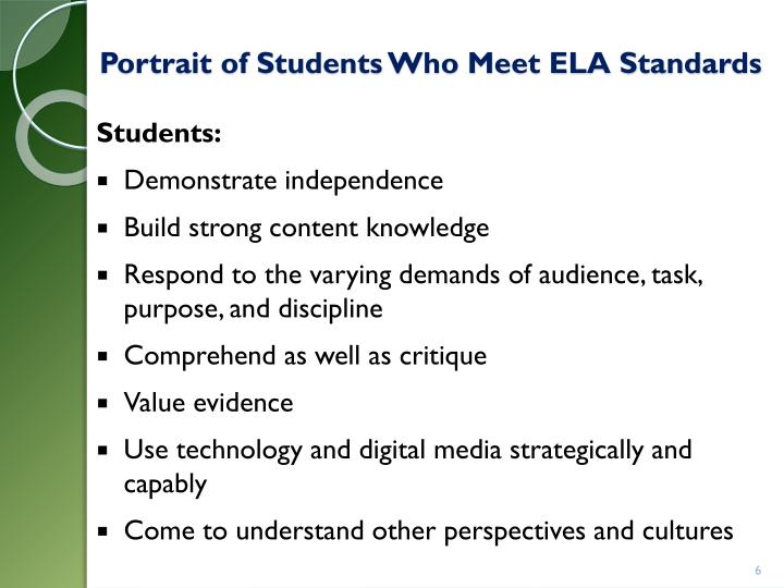 Portrait of Students Who Meet ELA Standards