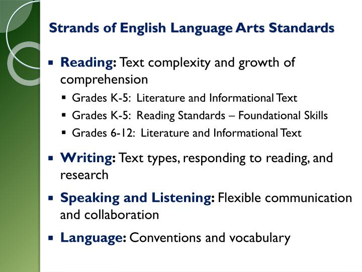 Strands of English Language Arts Standards