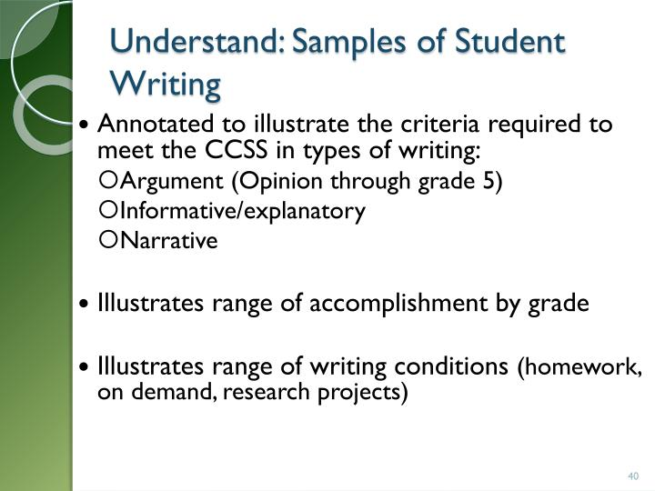 Understand: Samples of Student Writing