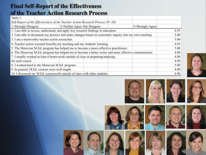 Final Self-Report of the Effectiveness