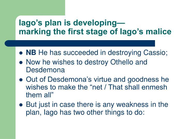 Iago's plan is developing—