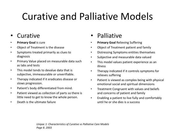 Curative and palliative models