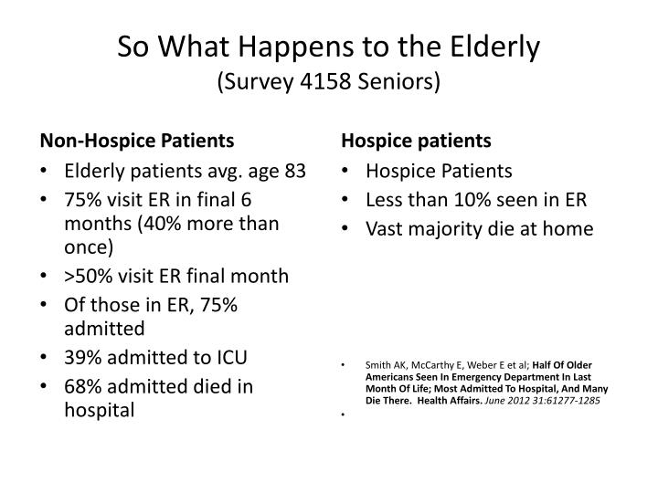 So What Happens to the Elderly