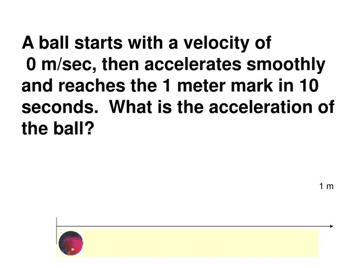 A ball starts with a velocity of