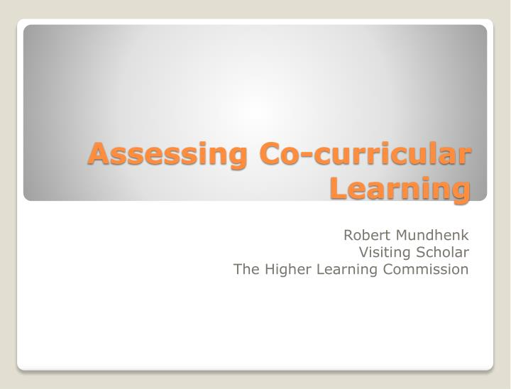 Assessing co curricular learning