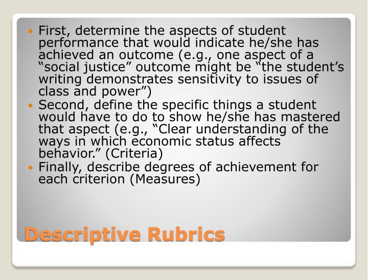 """First, determine the aspects of student performance that would indicate he/she has achieved an outcome (e.g., one aspect of a """"social justice"""" outcome might be """"the student's writing demonstrates sensitivity to issues of class and power"""")"""