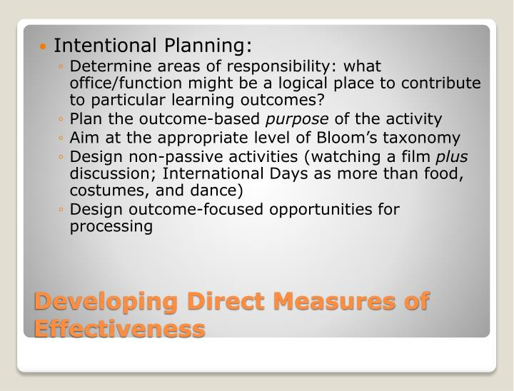 Intentional Planning: