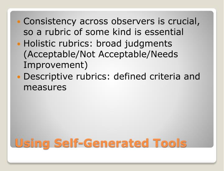 Consistency across observers is crucial, so a rubric of some kind is essential
