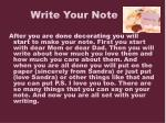 write your note