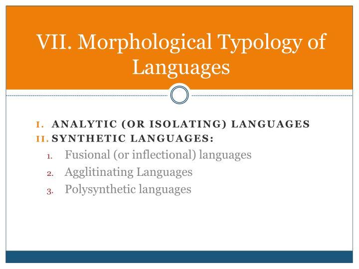 VII. Morphological Typology of Languages