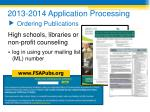 2013 2014 application processing ordering publications