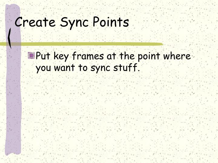 Create Sync Points