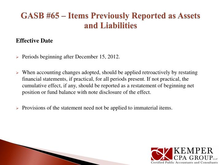 GASB #65 – Items Previously Reported as Assets and Liabilities