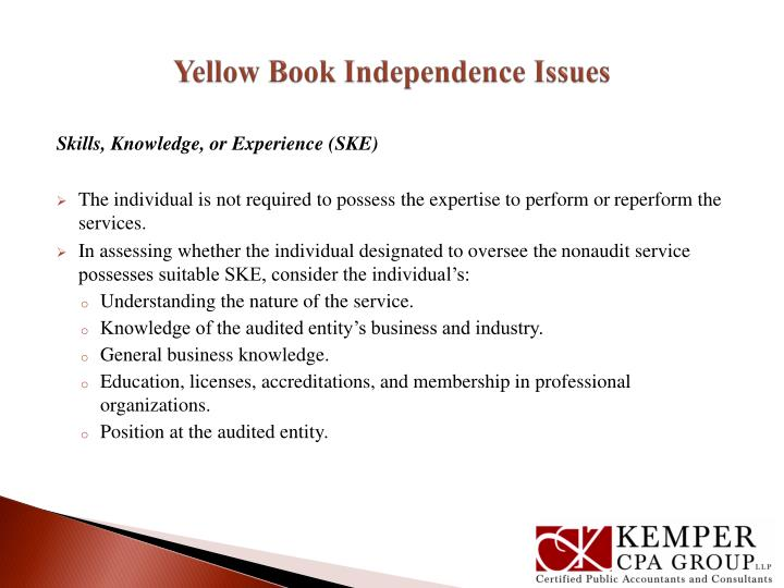 Yellow Book Independence Issues