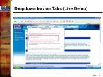 dropdown box on tabs live demo