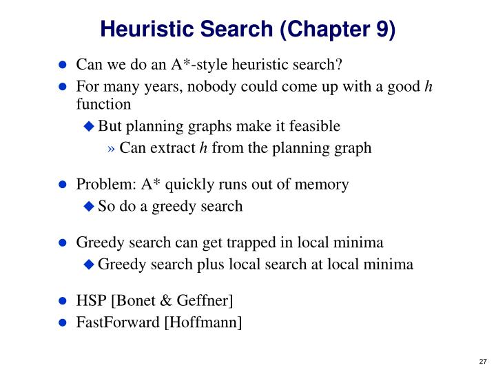 Heuristic Search (Chapter 9)