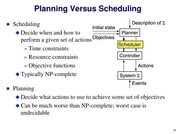 Planning Versus Scheduling
