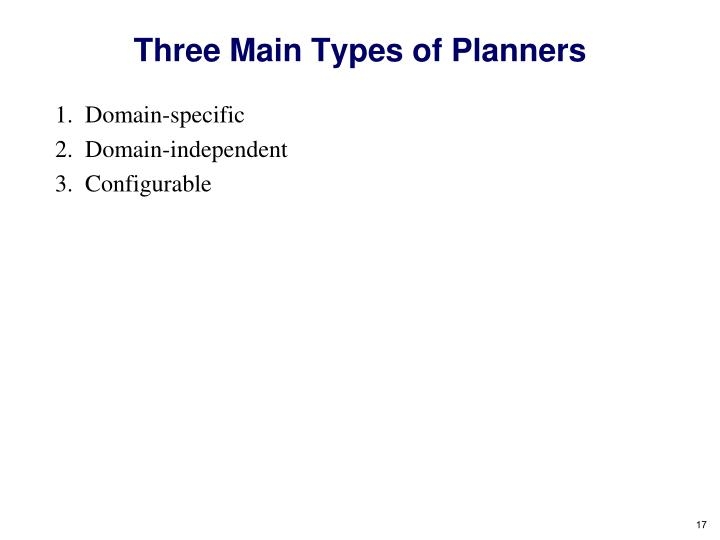 Three Main Types of Planners