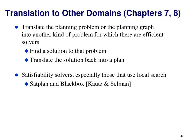 Translation to Other Domains (Chapters 7, 8)