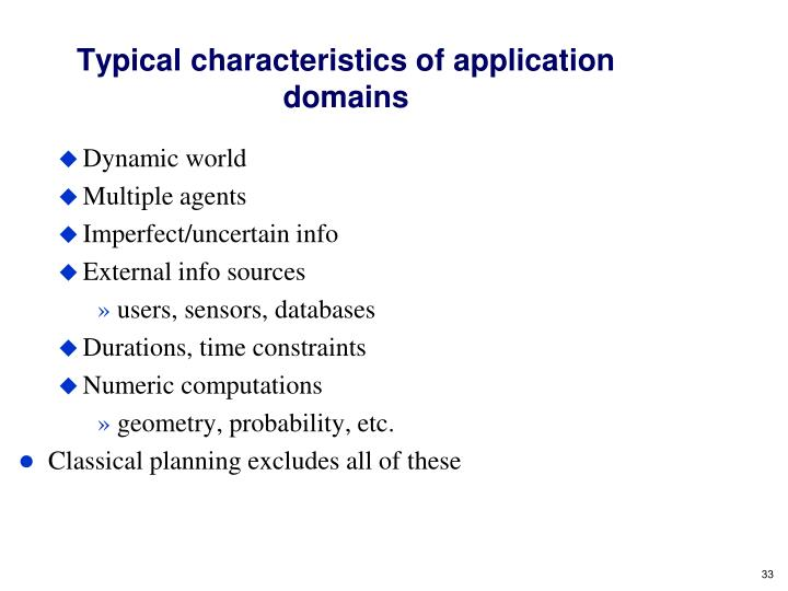 Typical characteristics of application domains