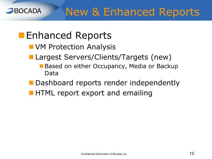 New & Enhanced Reports