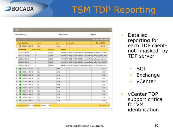 TSM TDP Reporting