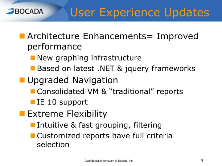 User Experience Updates
