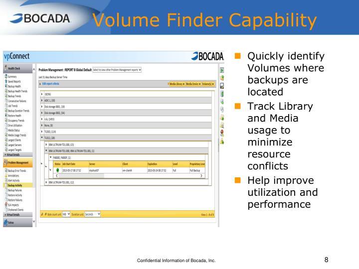 Volume Finder Capability