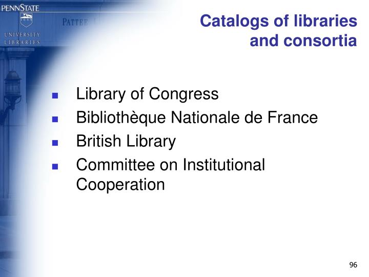 Catalogs of libraries