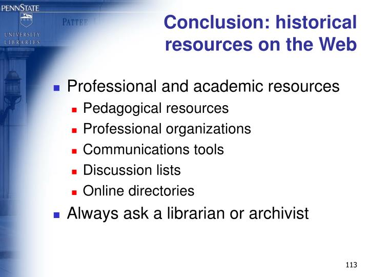Conclusion: historical