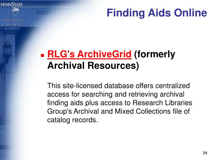Finding Aids Online