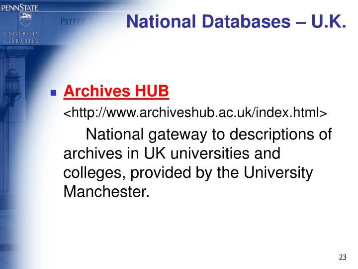 National Databases – U.K.