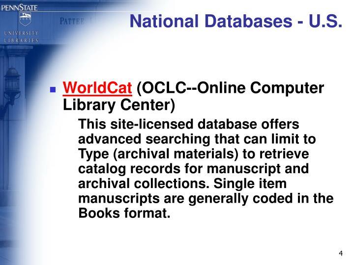 National Databases - U.S.