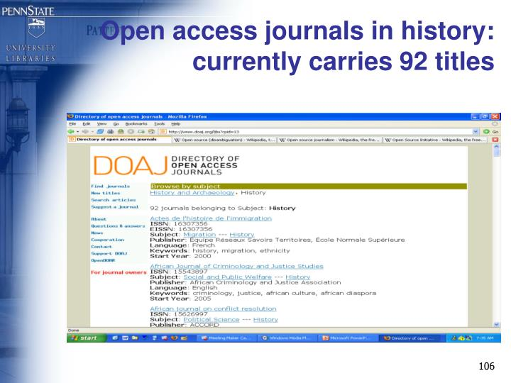 Open access journals in history: