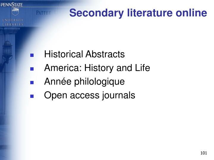 Secondary literature online