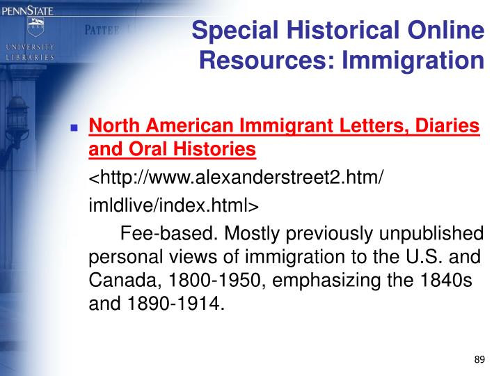 Special Historical Online Resources: Immigration