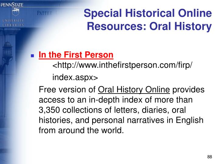 Special Historical Online Resources: Oral History
